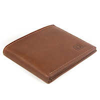 Light Brown Italian Leather Bi-Fold 6 slot Wallet